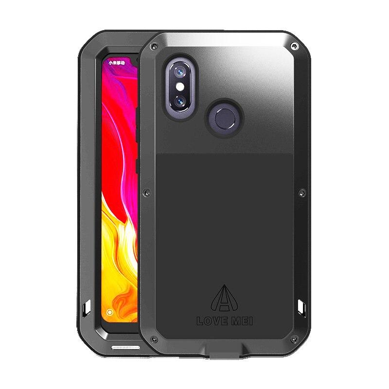 Étui de protection en métal de luxe pour Xiao mi mi 8 mi 8 + Gorilla Glass robuste résistant aux chocs pour étui Xiao mi 8