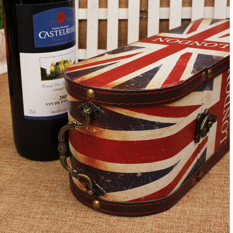 Antique Red Wine Box Vintage Leather London Flag Exquisite Gift Wooden Portable Storage Bin For Birthday Christmas In Racks From Home