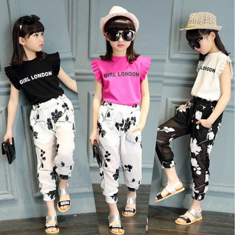 2017 Girls Clothing Summer Spring Short Princess Clothes Casual O Neck Children S T Shirt Pants
