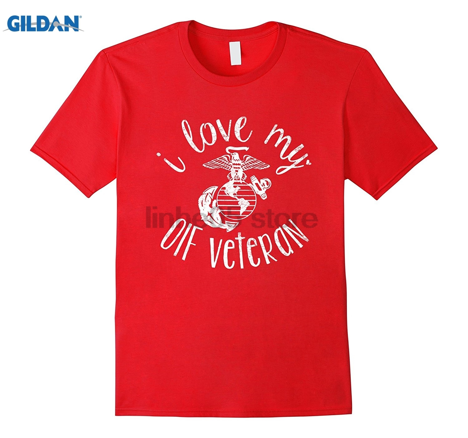 GILDAN I Love My Veteran USMC Army Navy Air Force Coast Guard Natio sunglasses women T-shirt
