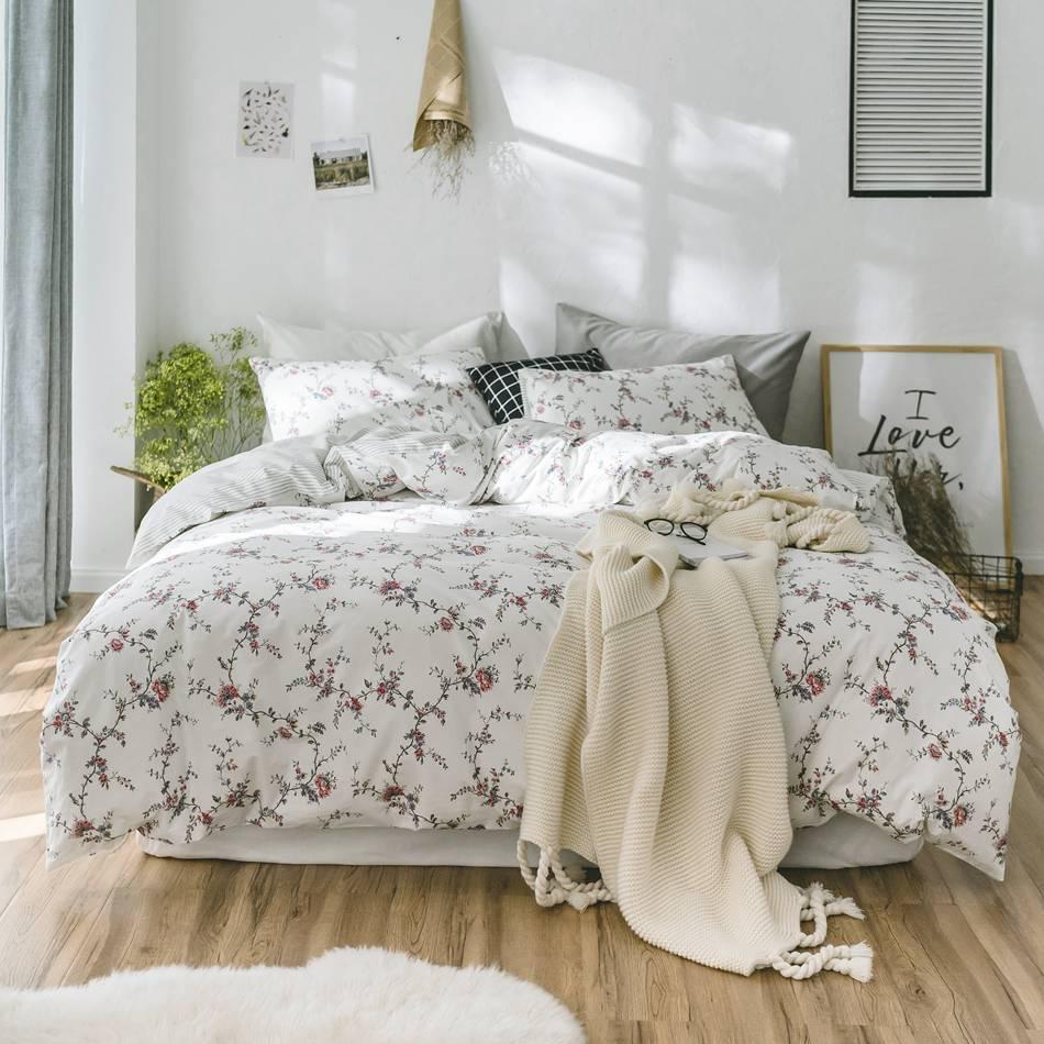 Flowers Stripes Bedding Duvet Cover Set Quilt Cover Twin Queen