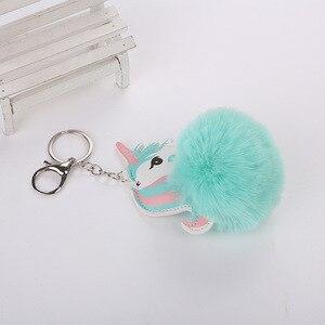 Image 5 - Nette Plüsch Einhorn Spielzeug Für Kinder Geschenk Gefüllte Puppe Spielzeug Fell Ball Pompon Mini Plüsch Anhänger Schlüssel Kette Mädchen Tasche hängen Dekor