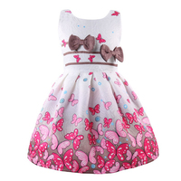 2018 Summer Girls Flower Dress Double Bow butterfly print Fashion Kids Princess Birthday Dress For Girls wedding Clothes