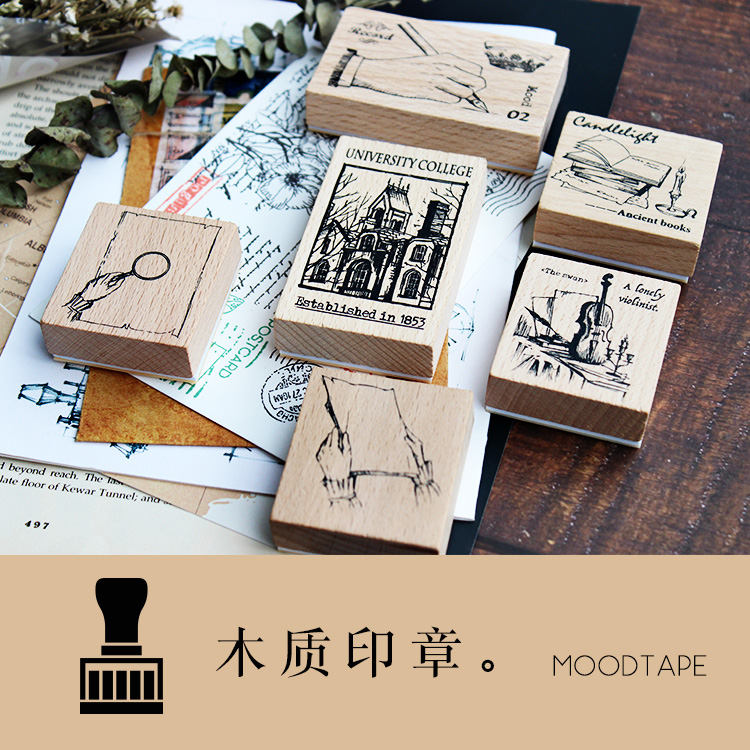Moodtape Vintage Wood Clear Stamp For DIY Scrapbooking/photo Album Decorative Stamp Handwritten College Violin Rubber Stamp Seal