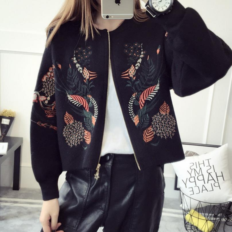 embroidery short sweater jacket female loose zipper knit cardigan