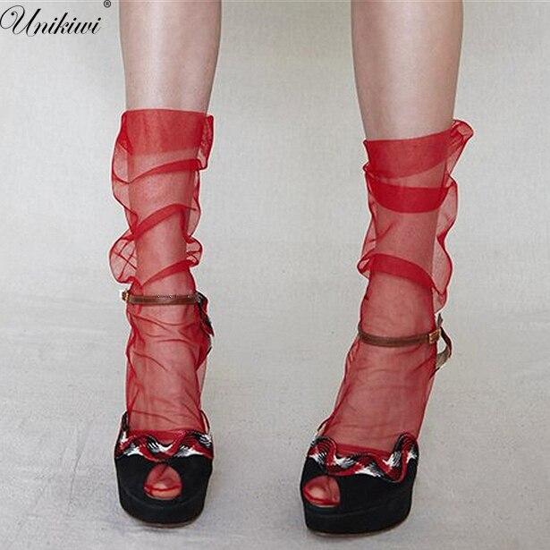 5 цветов. Женская Новинка ультра-тонкие свободные шифоновые сетчатые носки. пикантное женское прозрачное газовые носки сваи носки женские Meias