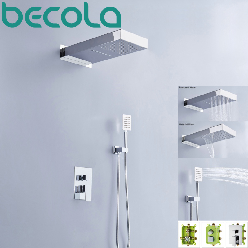 becola new design wall mounted square rain shower set luxury chrome brass waterfall shower faucet kit B-Y1000