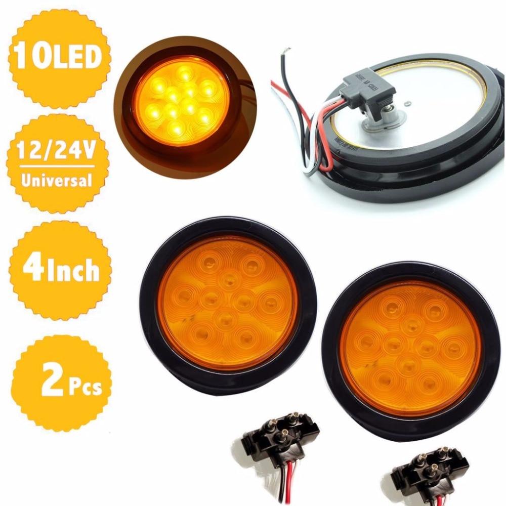 2pcs 4&#8243; 12V Round Amber <font><b>LED</b></font> Truck Trailer 10 Diodes with Grommet Turning Lamp <font><b>Signal</b></font> Light Kit DOT