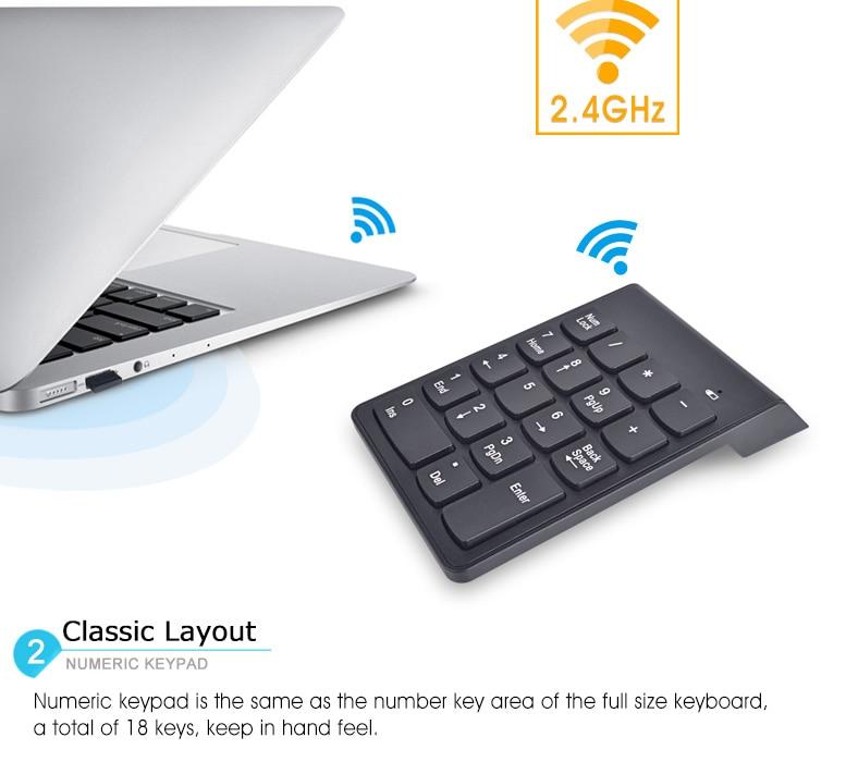 wireless usb numeric keypad keyboard for macbook laptop 18 keys 2 4g ebay. Black Bedroom Furniture Sets. Home Design Ideas