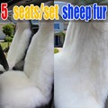 100% cubierta de asiento de coche cojín de piel de oveja pura 5 asientos/set simple larga pura lana coche cubre asientos cojín