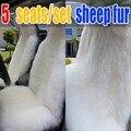 100% de pele de ovelha puro tampa de assento do carro almofada 5 lugares/set simples pura lã longa assentos de carro capas de almofada