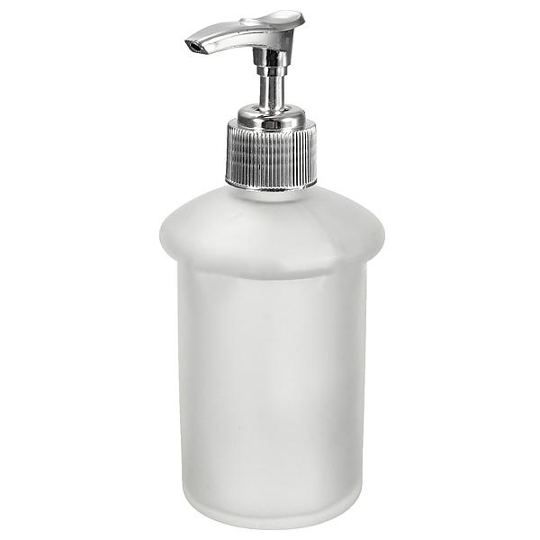 Wall Mount Bathroom Frosted Glass Shampoo Liquid Soap Dispenser & Holder Chrome