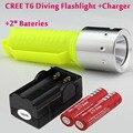CREE XM-L T6 1600 Люмен Водонепроницаемый LED Дайвинг Фонарик Факел + 2 х 18650 Батарей + Зарядное Устройство