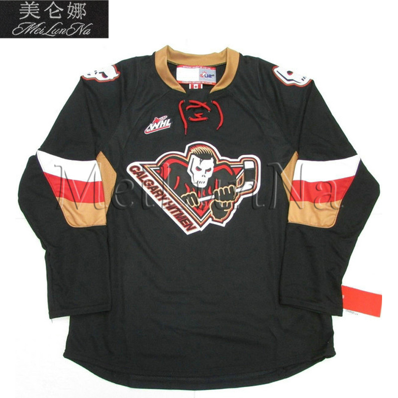 MeiLunNa Customize WHL Calgary Hitmen Jerseys 15 Ryan Getzlaf 15 Bret Hitman Hart Home Road Third Sewn On Any Name NO.Size hart j redemption road