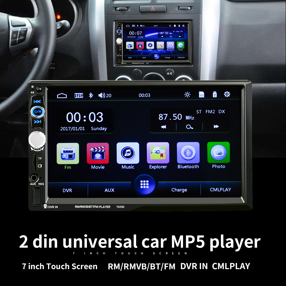LaBo Car Radio Player 7'HD Bluetooth Rear View Stereo FM MP4 MP5 Multimedia Video Audio USB AUX Auto Electronics Autoradio 2din 7 inch touch screen 2 din car multimedia radio bluetooth mp4 mp5 video usb sd mp3 auto player autoradio with rear view camera