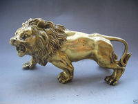 Collectible decorated chinese hand made copper Lion statues