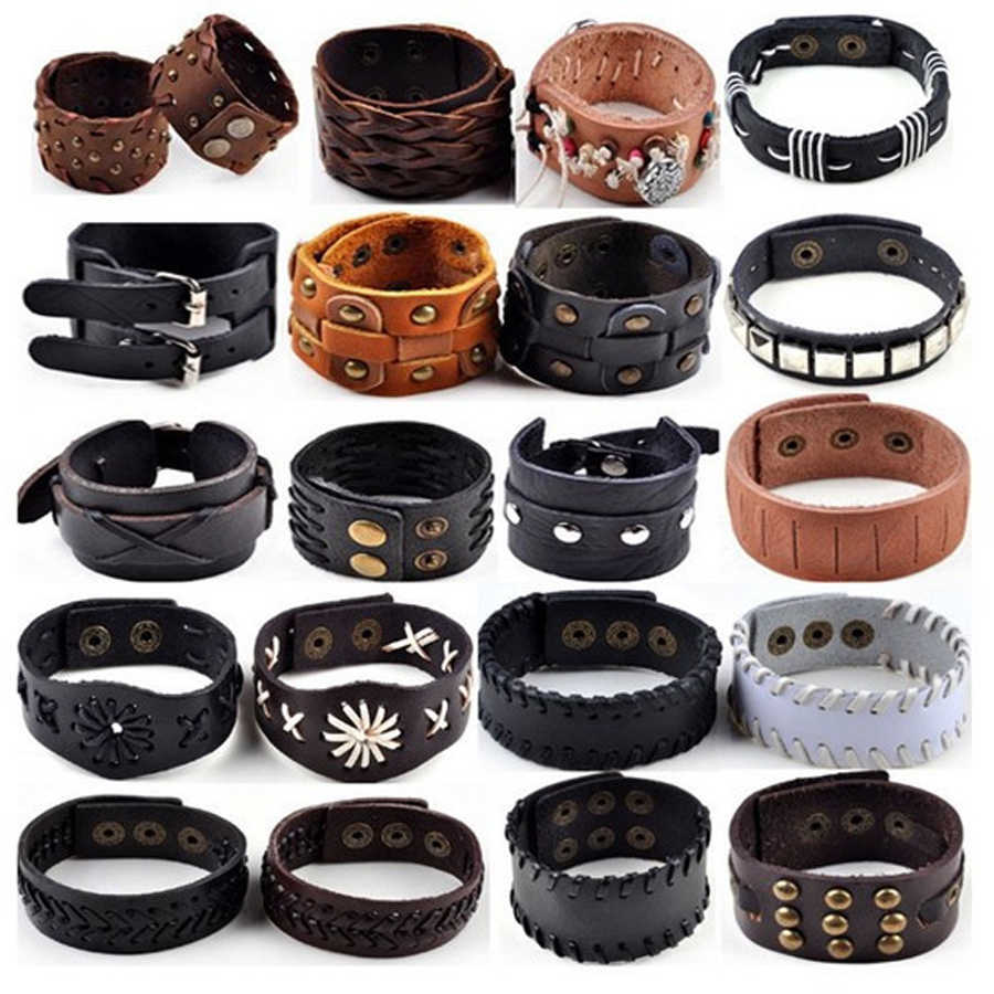 1PC Punk Hemp Braid Surfer Rivet Wide Buckle Leather Bracelet Wristband Cuff Bangle Men Women Jewelry Gift Drop Ship