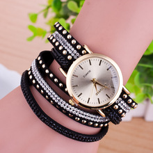 New Brand Fashion Luxury Rhinestone Leather Bracelets Watch Women Ladies Quartz Watch Casual Wrist Watches Relogio Feminino Saat