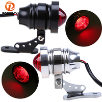 POSSBAY Black Chrome Motorcycle Taillight Motorbike Rear Stop License Plate Holder Indicator Lamps Universal Scooter Light