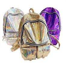 Designer dames sacs à dos Femmes Arc-En-Coloré Métallique Argent Laser holographique sac à dos sacs d'école pour les adolescents filles