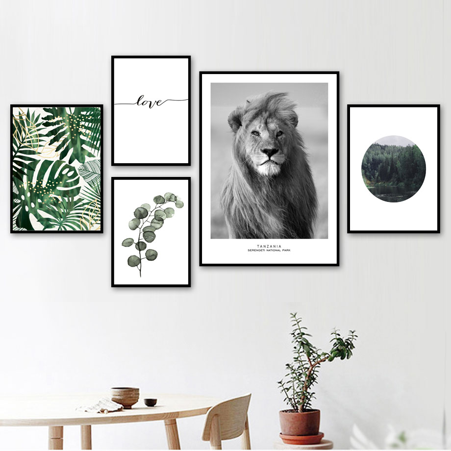 Lion Forest Leaf Love Quotes Wall Art Print Canvas Painting Nordic Posters And Prints Animal Wall Pictures For Living Room Decor in Painting Calligraphy from Home Garden
