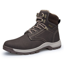 2017 Лидер продаж Для мужчин большой размер 40-46 кожа Охота высокие Мужские ботинки открытый Обувь Брендовая обувь Для мужчин спорт качества Охота Сапоги и ботинки для девочек