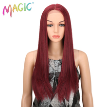 M Hair High Temperature Fiber Hair For Women Ombre Dark Roots To Red Color Hand Tied Straight Type Synthetic Lace Front Wigs
