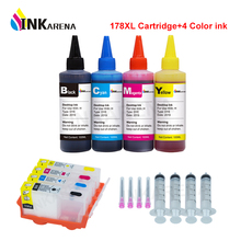 Cartucho de tinta inc178xl, compatível com hp 178, fotosmart, recarregável b209a b210a b109a 5510 6510 7510 + 4 garrafas, impressora tinta de tinta