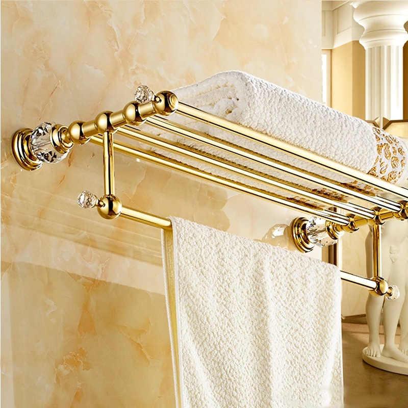 FLG łazienka półki mosiądz kryształ wieszak na ręczniki złoty półka na ręczniki do montażu na ścianie uchwyt na ręczniki wieszak do ręczników akcesoria łazienkowe