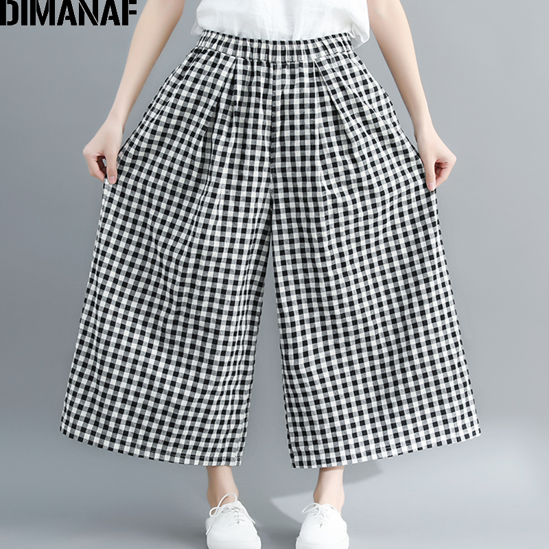 DIMANAF Plus Size Women   Wide     Leg     Pants   Summer Cotton Loose Big Size Pantalones Female Elastic Waist Long   Pants   Plaid Black 2019