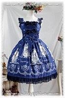 2016 Lolita Original Floral Print Cotton Sweet Lolita Dress Victorian Tangeld JSK Party Dress Blue/Red/Beige