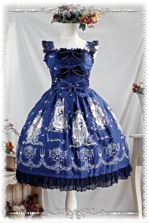 2016 Lolita Original imprimé Floral coton doux Lolita robe victorienne Tangeld JSK robe de soirée bleu/rouge/Beige