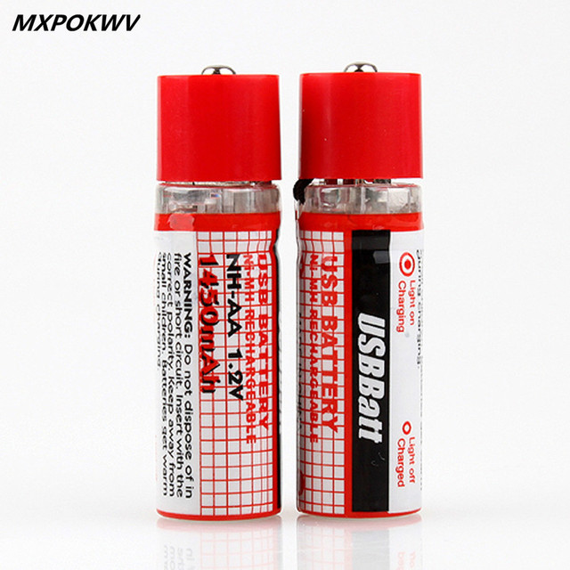 2Pcs/lot 1.2V 1450MAH USB AA Battery Rechargeable Battery AA Nimh Battery 1450MAH USB AA With LED Indicator And Long Life