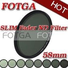 Fotga 58 мм 58 Тонкий Фейдер Фильтр Регулируемая переменная нейтральной плотности ND2 к ND400