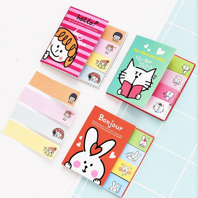 1Pcs Mini Cute Kawaii Cartoon Panda Cat Rabbit Memo Pad Lovely Girl Post It Note Korean Stationery Gift Planner Stickers E2097