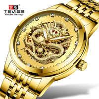 TEVISE มังกรทองอัตโนมัติผู้ชายนาฬิกานาฬิกากันน้ำผู้ชายนาฬิกาข้อมือส่องสว่างนาฬิกา relogio masculino