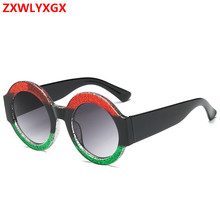 Round Sunglasses Women Brand Designer Oversized Retro Flat