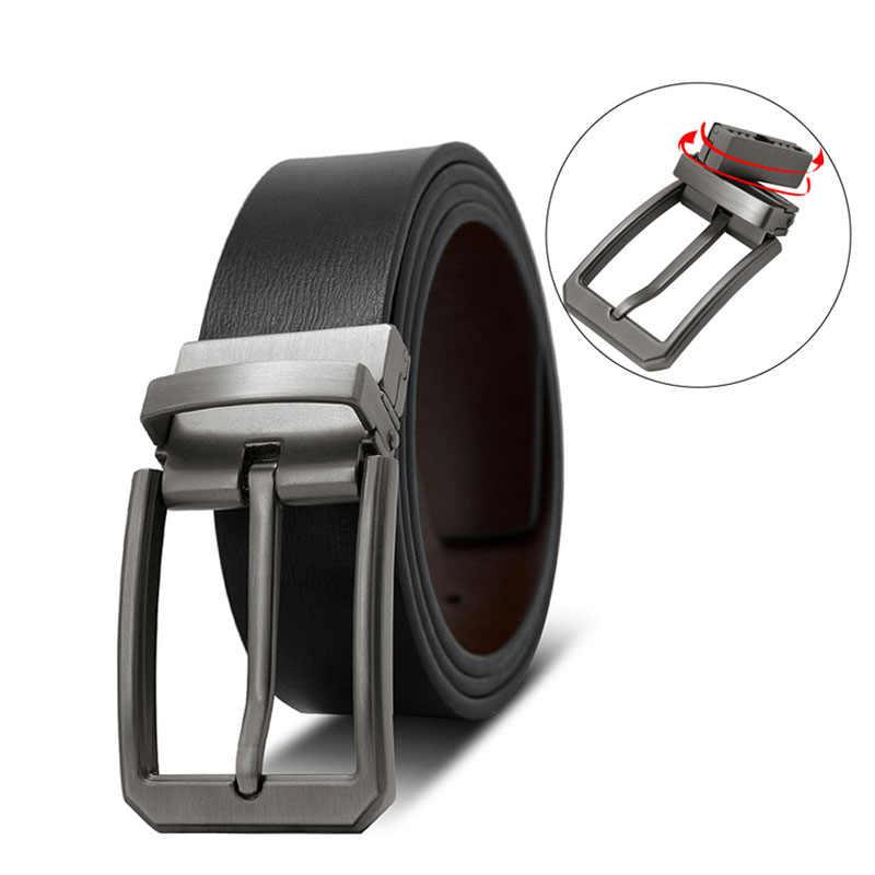 sdsruioo Luxury Fashion Male Reversible Belt Men Business Trouser Belt Genuine Leather Belts For Jeans Double Sided