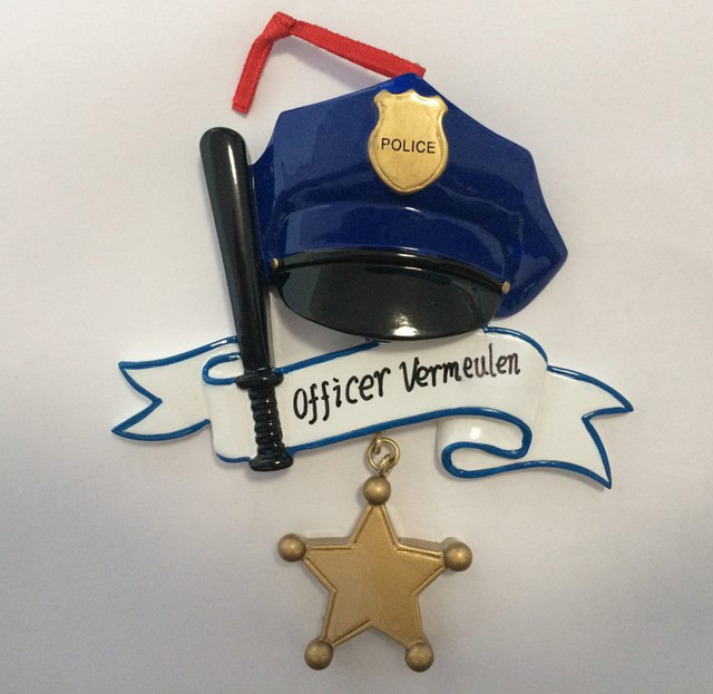 wholesale police personalized polyresin christmas ornament as for holiday police day gifts