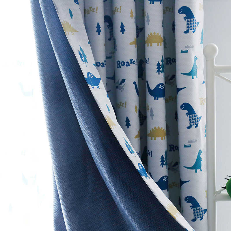 Budloom blackout dinosaur curtains for children room cartoon curtains for boys room cute window drapes for kids bedroom
