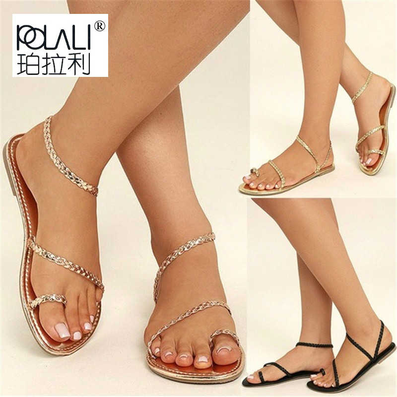 d16c986acf698 POLALI Plus Size Thong Sandals Summer Women Flip Flops Weaving Casual Beach  Flat With Shoes Rome