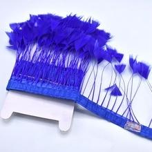 2Meter/lot top Royal blue Goose Feather ribbon clothes decor DIY Pheasant Feathers Fringe wedding crafts piuma Finiture