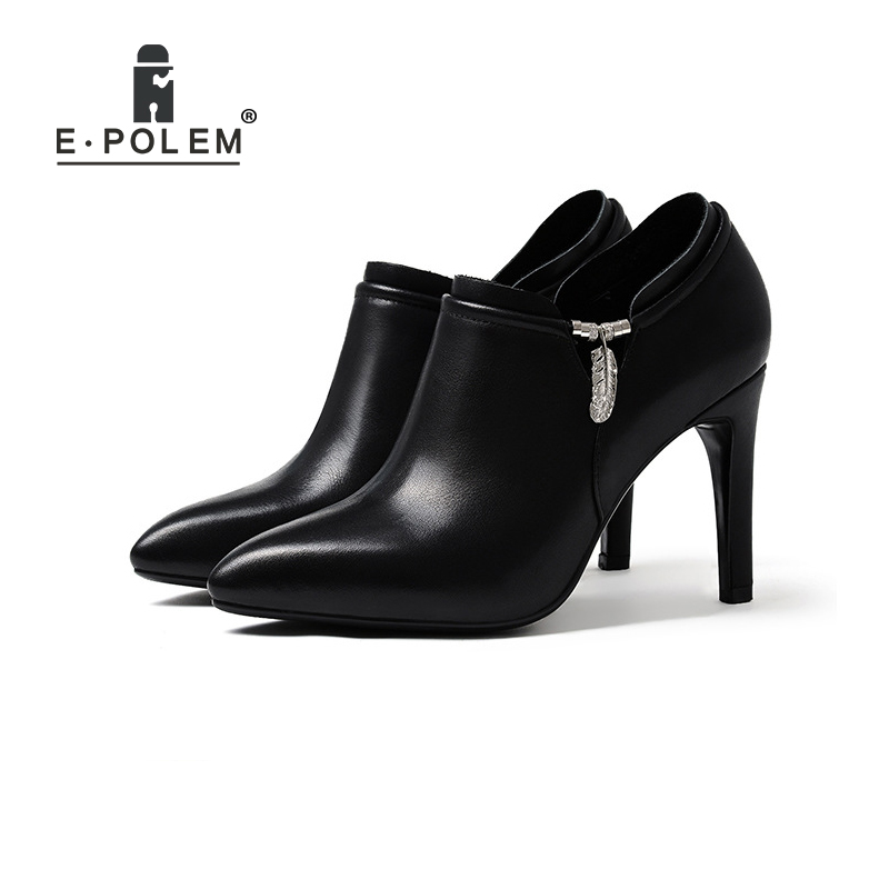 Lady's High Heel Shoes Martin Boots Punk Side Zip Ankle Boots Thin Heels Women Pointed Toe Boots Teenage Girls Metal Buckle Boot floral female kid suede high heel shoes genius leather martin boots punk ankle boots thin heels women pointed toe booties