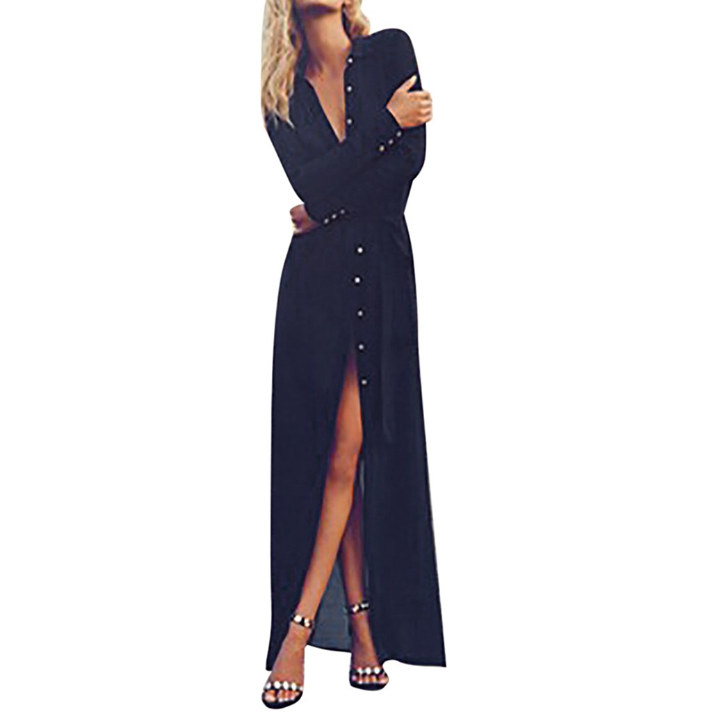 Women's Lapel Button Down Roll Up Long Sleeve Long Cardigan Shirt Dress Bodycon Robe Dresses vestidos