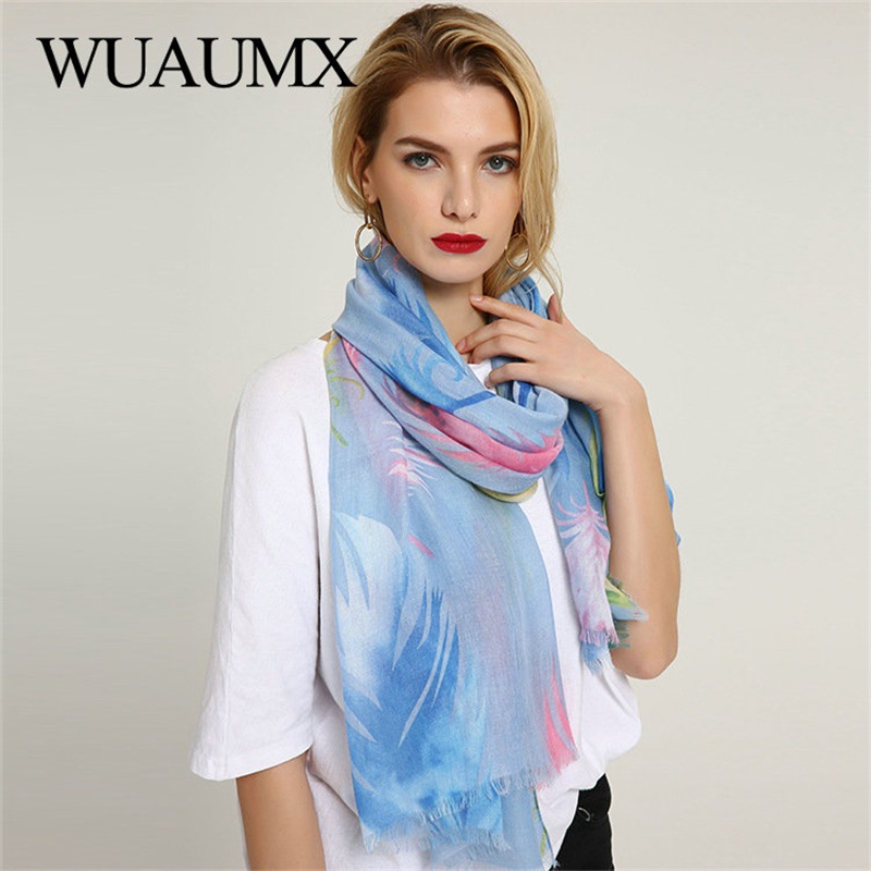 Wuaumx 2018 New Pashmina Ladies Scarves Shawl And Wraps Scarf For Women Feather Pattern Multifunction Hijab foulard femme