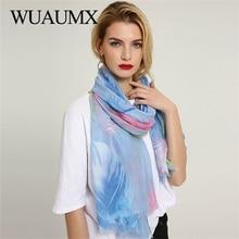 Wuaumx 2018 New Pashmina Ladies Scarves Shawl And Wraps Scarf For Women Feather Pattern Multifunction Hijab foulard femme