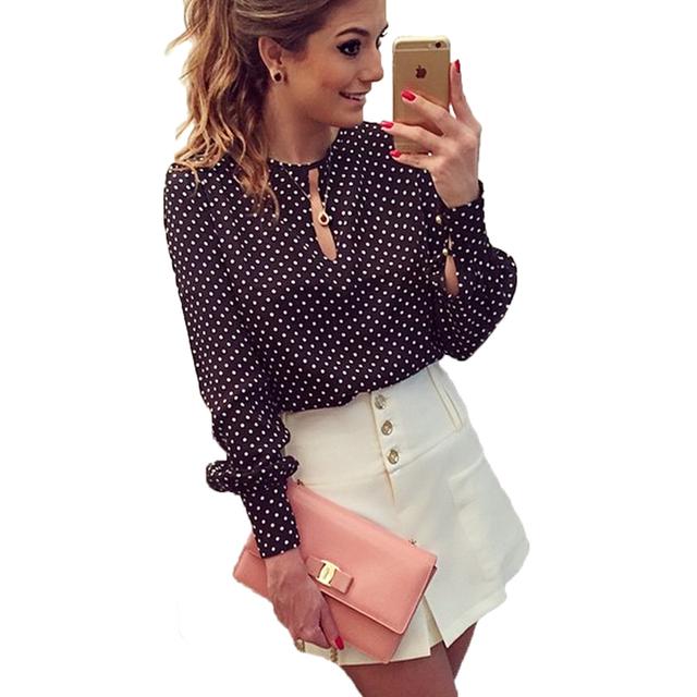 2019 New Arrival Women Tops Casual O-Neck Long Sleeves Blouses Spring Summer Chiffon Polka Dots Shirt