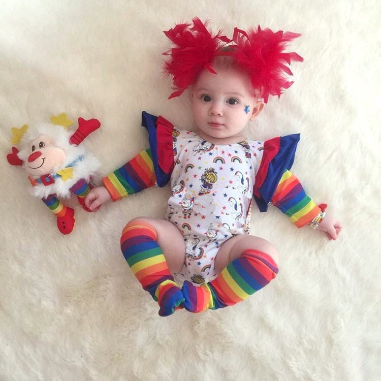 New 2018 Cute Baby Bodysuit Character Rainbow Print Long Sleeve Baby Unisex Clothes Jumpsuits Clothing Set Onesie Overalls