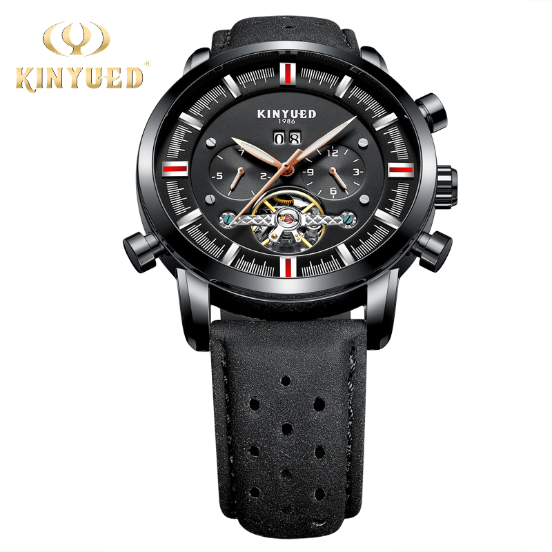 KINYUED Automatic Calendar Watch Men Mechanical Fashion Brand Mens Skeleton Wrist Watch Tourbillon Army Military erkek kol saati forsining full calendar tourbillon auto mechanical mens watches top brand luxury wrist watch men erkek kol saati montre homme