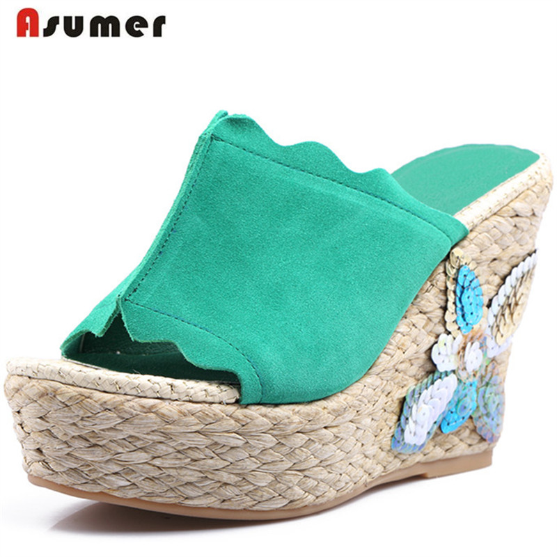 Asumer Summer shoes woman sandals wedges high heels shoes cow suede leather platform shoes fashion top quality big size 34-40 chnhira 2017 suede gladiator sandals platform wedges summer creepers casual buckle shoes woman sexy fashion high heels ch406